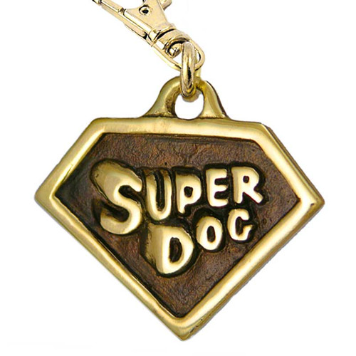 Super Dog ID Tag Brass