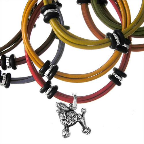 3 strand of colored leather with 2 silver beads and 4 rubber beads, FineARF claps