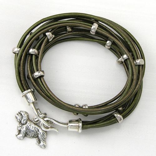 Hook Clasp Beaded Leather Wrap Bracelet