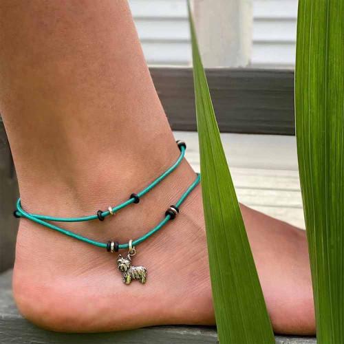 Leather Dog Ankle Bracelet Single Wrap