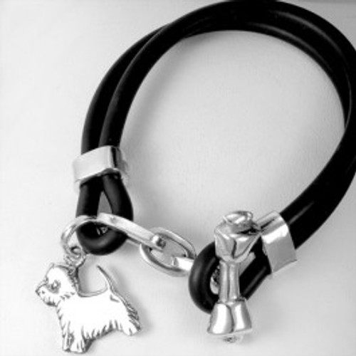 Bone Toggle Bracelet with Medium Westie Charm