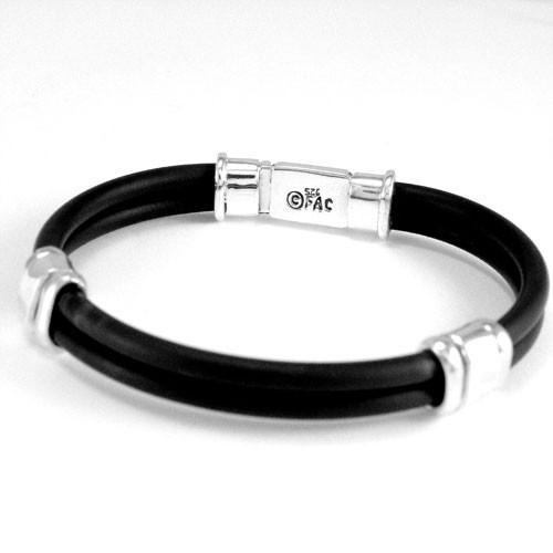 Box Clasp Rubber Bracelet Mens