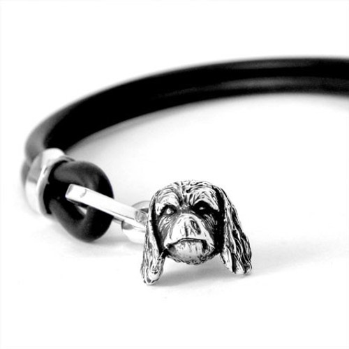Cavalier King Charles Silver and Rubber Bracelet