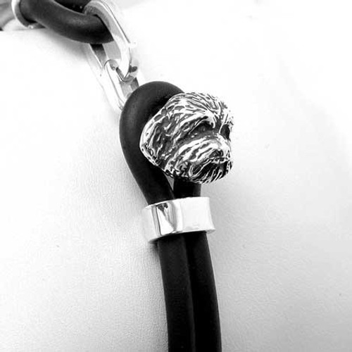 Shih Tzu Puppy Silver and Rubber Bracelet