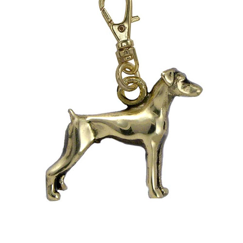 Doberman Pinscher Brass flop ears Zipper Pull