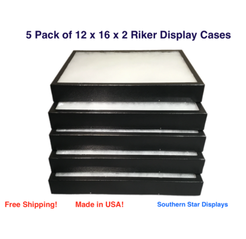 4 Pack of Riker Display Cases 12 x 16 x 1 14for Collectibles Arrowheads Jewelry
