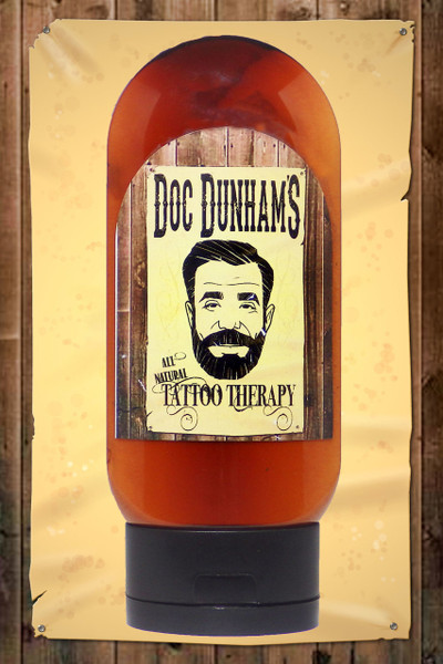 Doc Dunham's Tattoo Therapy lotion, not only nourishes your tattoo and skin, but it helps maintain and bring back the colors of your ink*.  All Natural 87% organic ingredients.    Doc Dunham's -  Dunham's Essentials - Best Damn Lotions - Best Damn Scents