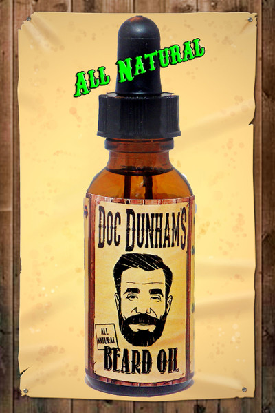 Doc Dunham's Beard Oil is made with all natural oils.  Not sticky, not a heavy duty oil, it's just right.  Fractionated Coconut Oil, Golden Jojoba Oil, Hemp Seed Oil, Tea Tree Essential Oil, Orange Bitter Essential Oil, Peppermint Supreme Essential Oil.  Doc Dunham's, Dunham's Essentials