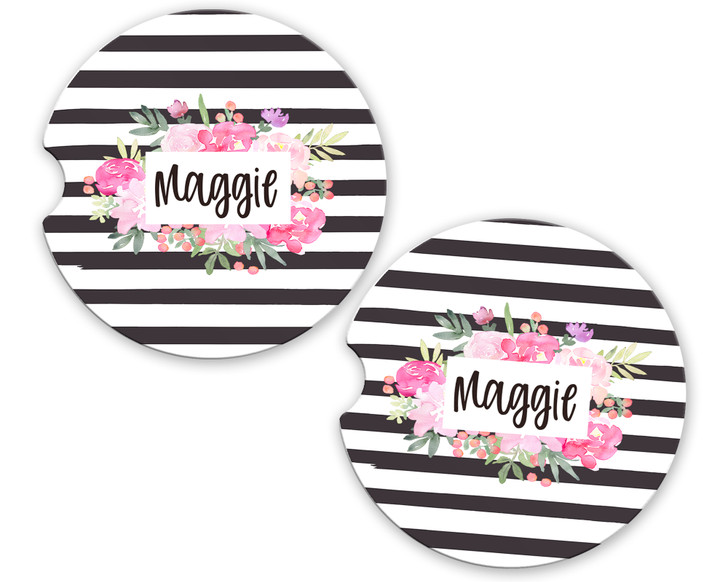 Personalized Car Coaster - Pink Floral Frame