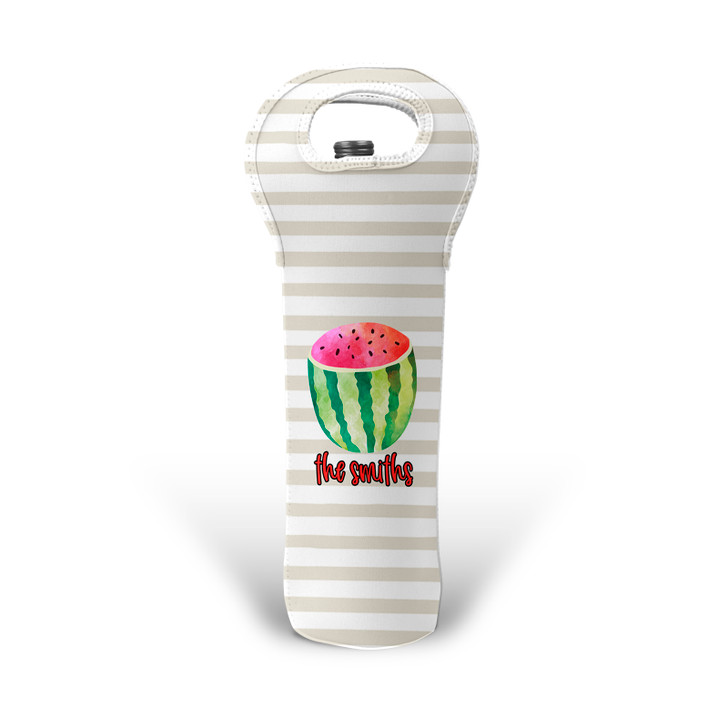 Personalized Wine Tote - Watermelon