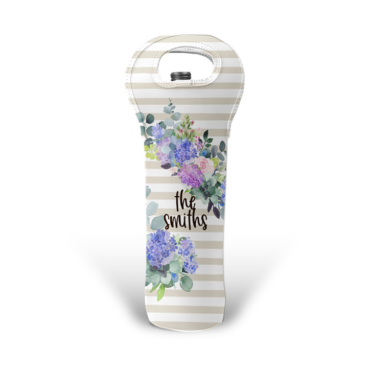 Personalized Wine Tote - Lilac Florals