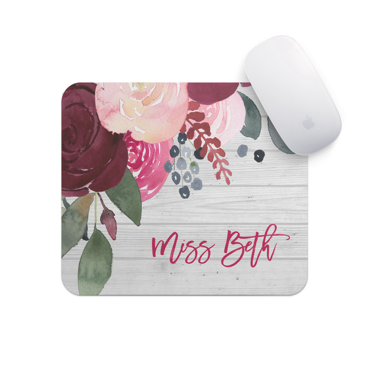 Personalized Mouse Pad - Maroon Florals
