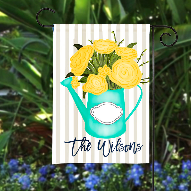 Personalized Garden Flag - Floral Watering Can