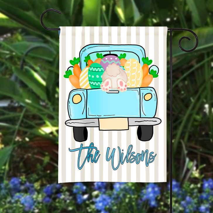 Personalized Garden Flag - Easter Truck