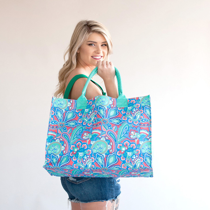 Island Bliss Womens Personalized Tote Bag, Personalized Shoulder Bag, Carry On Tote, Bridal Party Bag, Bridesmaid Gift, Mothers Day Gift