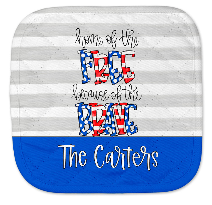 Personalized Pot Holder - Becuase of the Brave