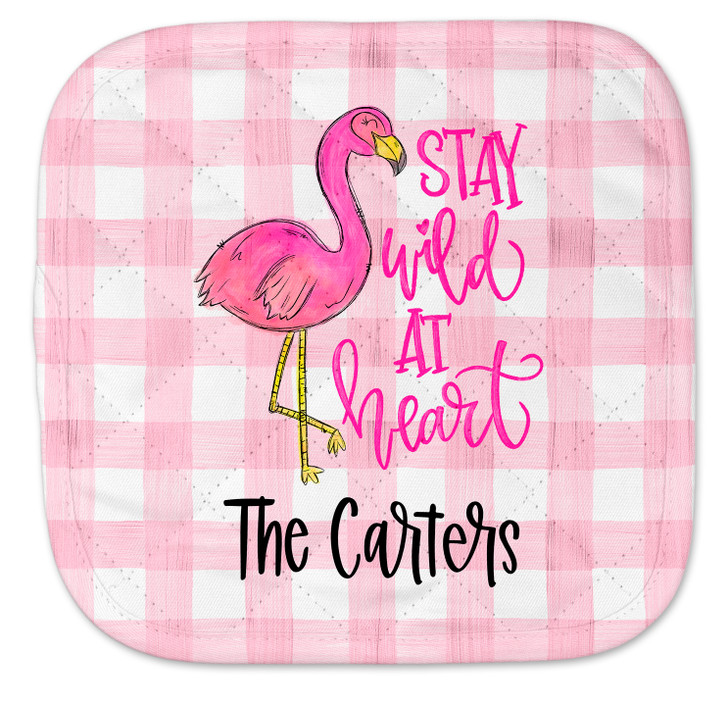 Personalized Pot Holder - Pink Gingham Flamingo