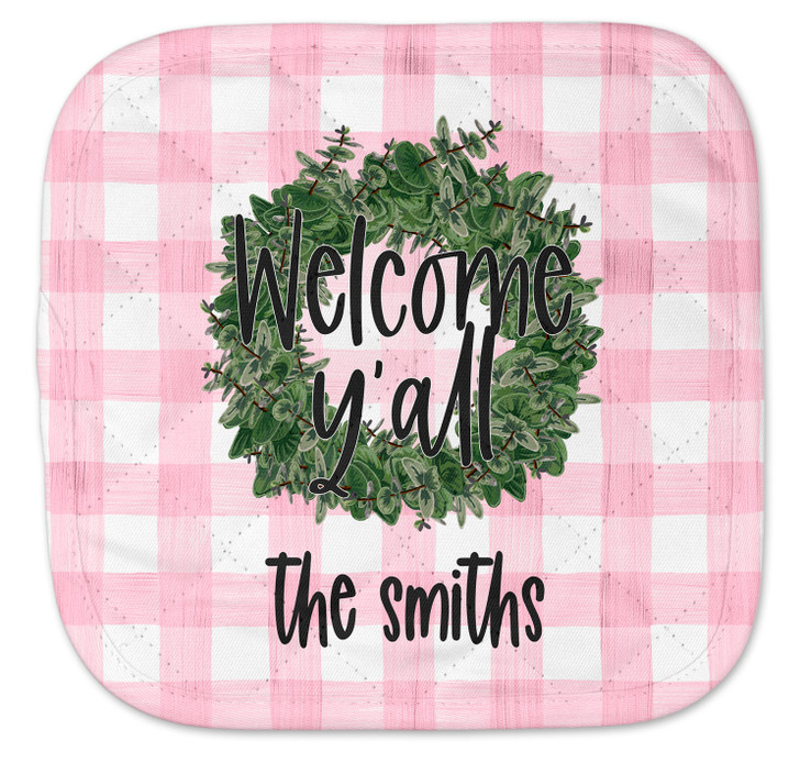 Personalized Pot Holder - Pink Gingham Wreath