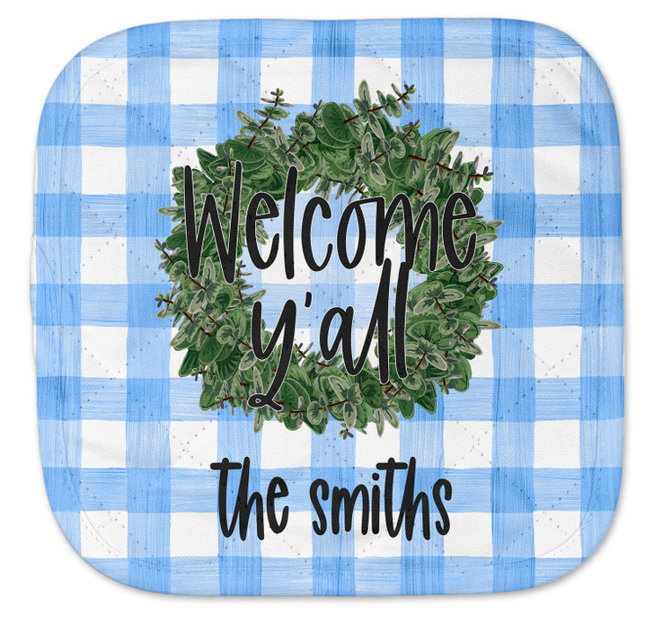 Personalized Pot Holder - Blue Gingham Wreath