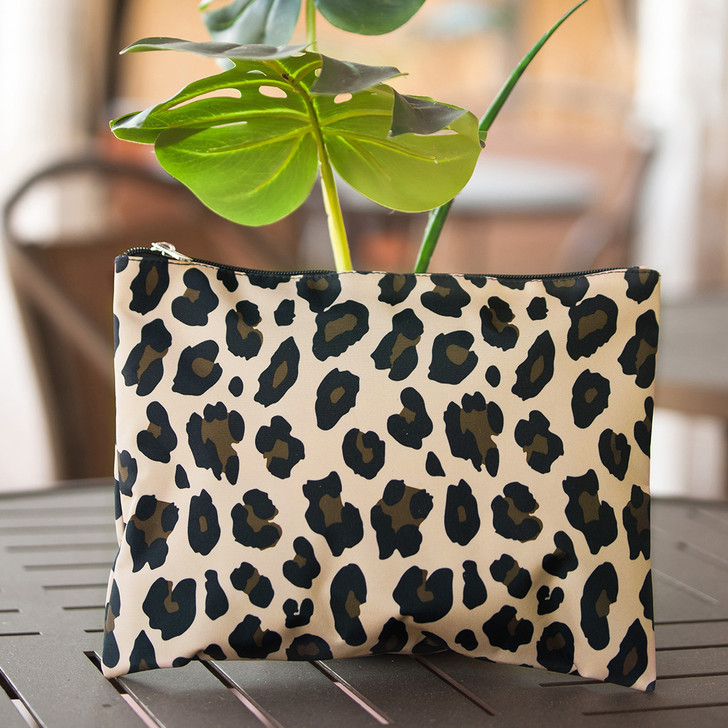 Wild Side Zip Pouch, Monogrammed Zipper Pouch, Monogrammed Leopard Pouch, Monogrammed Clutch, Monogrammed Bag, Leopard Clutch, Brown Clutch, Bridesmaid Gift, Mother's Day Gift