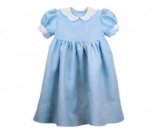Virginia is a dress with a raised waistline and full gathered skirt. It buttons in the back and has a scalloped collar and scalloped sleeve bands. Virginia is avaiable in 1-4 and 5-8.