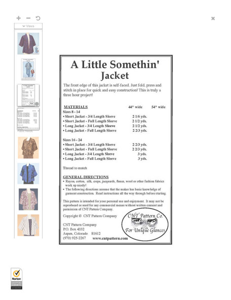 Fabric requirements and sizing information