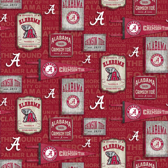 NCAA-UNIV. OF ALABAMA-AL1267 COTTON FABRIC 1 YARD CUTS