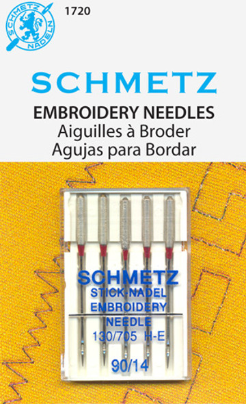 Light ball point with especially wide eye and enlarged groove in scarf allow for smooth machine embroidery with all types of threads from voluminous woolens to metallics & other more fragile threads. System: 130/705 H-E. Size 90/14. 5 needles per pack. Carded.