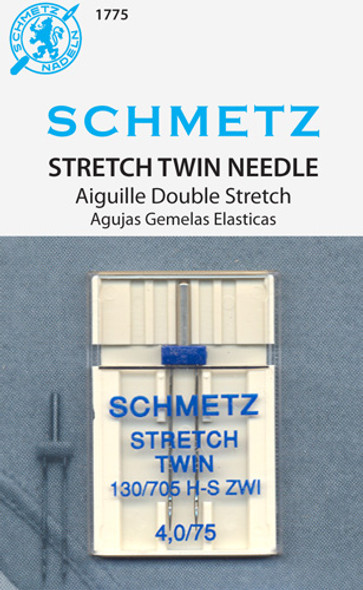 Also referred to as a Double Needle. With a medium ball point, the twin stretch needle is well suited for sewing dual rows of stitches on both knits and elastic or stretch fabrics. System: 130/705 H-S ZWI.