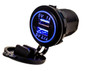 Blue LED Dual USB Port Fast Charger Socket Power Outlet 1.0A 2.1A Car ATV Truck Boat Motorcycle 12 volt
