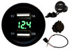 Dual USB Port Green LED Voltmeter Fast Charger Socket Power Outlet 1.0A 2.1A Car ATV Truck Boat Motorcycle 12 volt