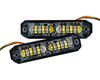1 Pair Split-Dual Color White Amber 360° Directional Turn Signal Warning Flash Strobe LED Light  Emergency Vehicle Tow Truck