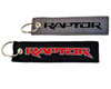2x Embroidered Raptor Key Chain Accessory Crew Tag Key Ring Lock Black Red Font & Charcoal Gray