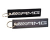 2x Embroidered AMG Logo Key Chain Accessory Crew Tag Key Ring Lock Black & Charcoal Gray with Metallic Silver Logo