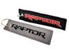 Set of 2 Embroidered Raptor Logo Black Neoprene Automotive Seat Belt Cover Shoulder Pads and Raptor Logo Key Chain Tag Accessory