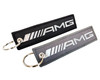 Set of 2 Embroidered AMG Logo Black Neoprene Seat Belt Strap Pads Cover and Key Chain Tag Accessory