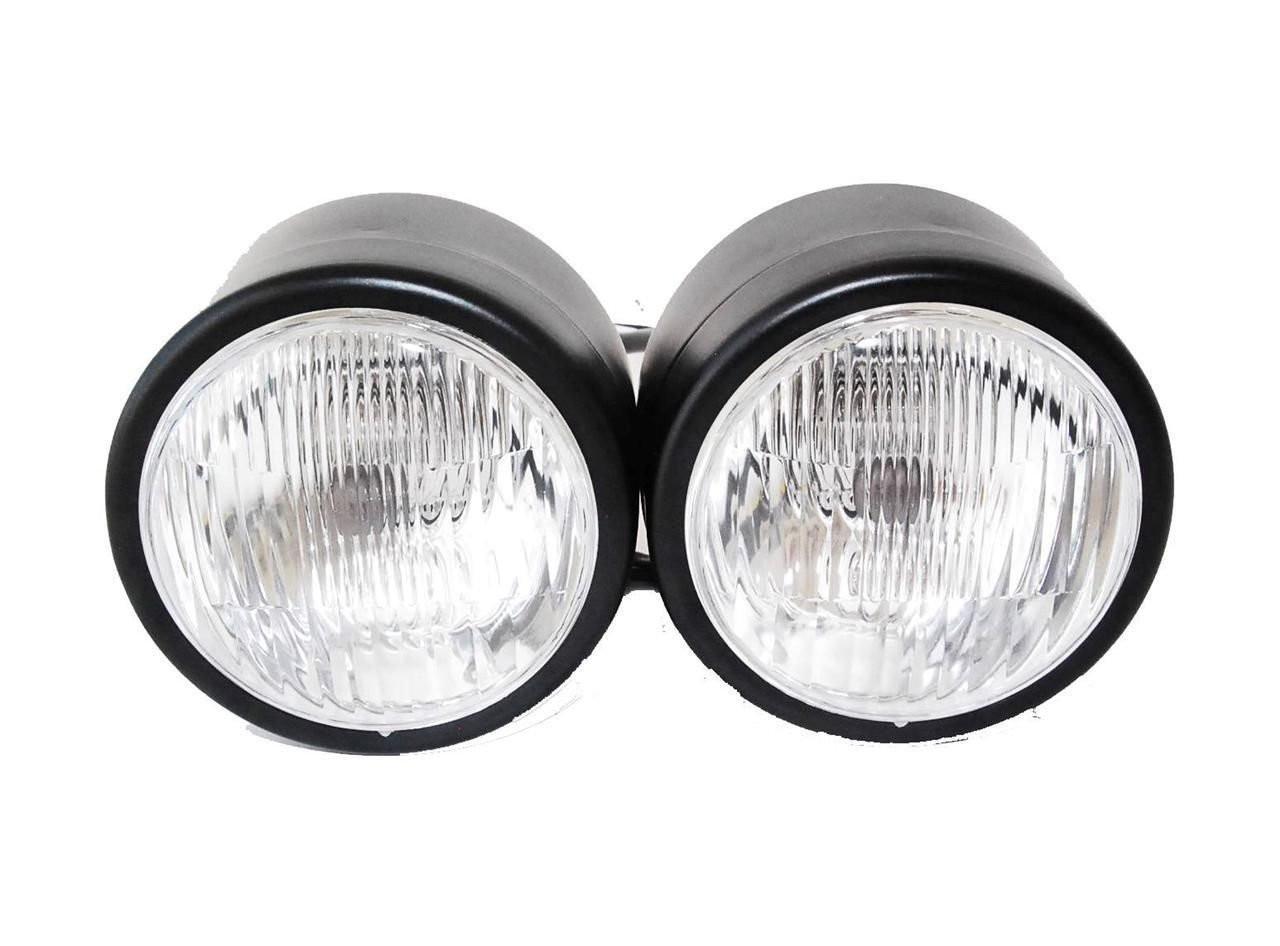 Black Twin Headlight Motorcycle Double Dual Lamp Street