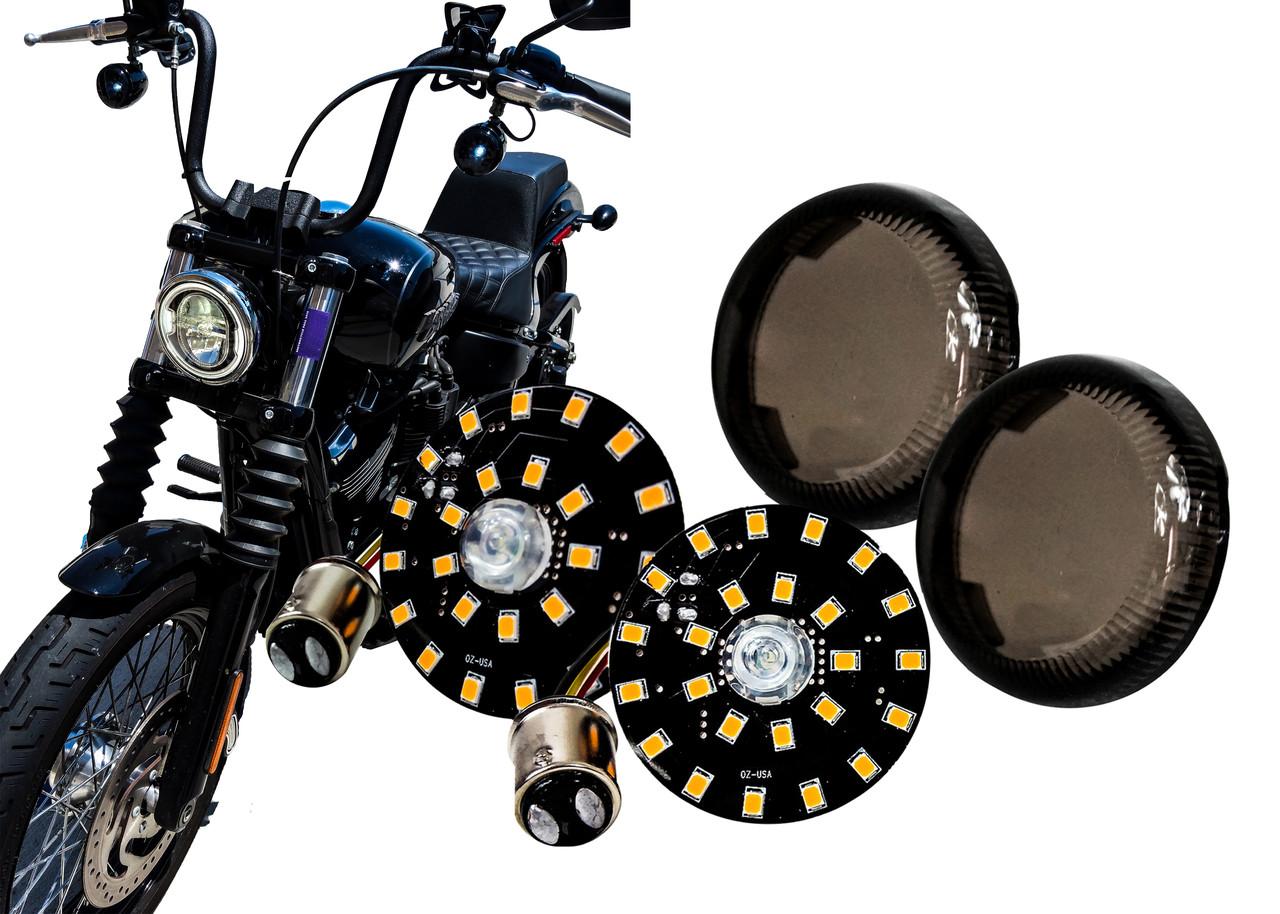 Smoke Turn Signal Lens Cover for Harley-Davidson Street Glide Road King Softail,2 PCS