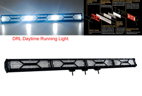 """X-Series 40"""" OZ-USA® Double Row LED Light Bar Combo Beam Diffused (Flood Beam) Clear Lens Cover DRL Daytime Running Light Offroad 4x4 Truck SUV"""