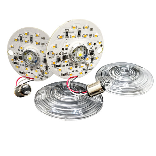 Front  White Amber Dual LED Turn Signal Kit Harley Day Time Running Touring Maker 1157