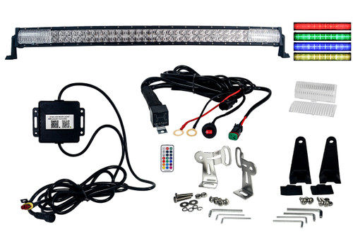"RGB Series 40"" OZ-USA® Double Row Dimmable LED Light bar Cross Style DRL & Variable RGB Bluetooth Functions Combo Beam Anti-theft Hardware Off road 4WD ATV SUV Truck"