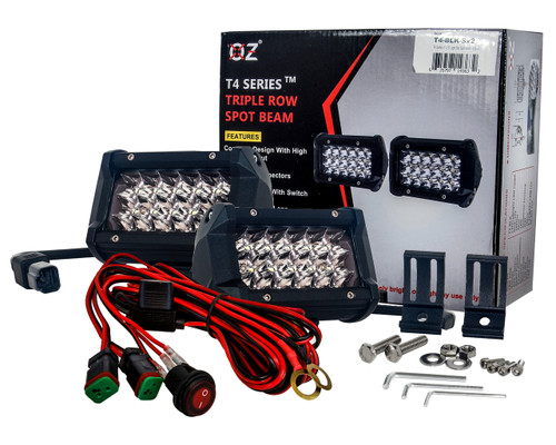 """T4 Series OZ-USA® 5"""" Triple Row LED Light Bar Spot Beam  Driving Fog Lights with Wiring Harness and Switch for Off Road SUV ATV Truck Boat Marine Vessel Agriculture  Heavy Equipment Vehicle.(1 pair)"""