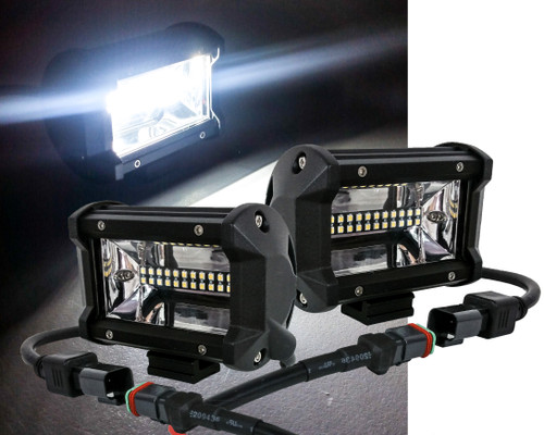 """T4 Series 5"""" Triple Row OZ-USA®  12w LED Light Bar Wide Angle Flood Beam Driving Fog Lights with Wiring Harness and Switch for Off Road SUV ATV Truck Boat Marine Vessels Agriculture and Heavy Equipment Vehicle. (1 pair)"""