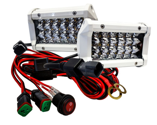 "White T4 Series 5"" Triple Row OZ-USA® 12w LED Light Bar Spot Beam  Driving Fog Lights with Wiring Harness and Switch for Off Road SUV ATV Truck Boat Marine Agriculture  Heavy Equipment(1 pair)"