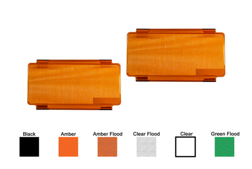 2 Pieces 6-inch Amber Flood OZ-USA® Diffused Protective Polycarbonate Lens Snap On Cover for Offroad LED light bar dual row ATV SUV 4x4