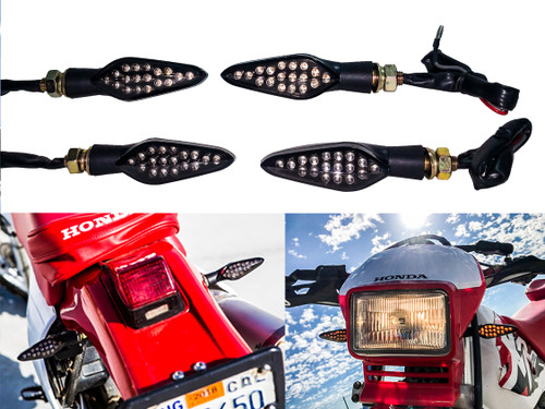 2 Pair Motorcycle Front & Rear Turn Signal Amber LED Light Dual Intensity Smoke Lens 12 Volts Universal Blinker