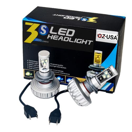 3HL-H7 LED Headlight Kit by OZ-USA® 30W Single Beam Auto 3000LM Xenon White 3000K, 4300K, 6500K, 8000K, 10000K