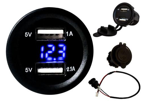 Dual USB Port Blue LED Voltmeter Fast Charger Socket Power Outlet 1.0A 2.1A Car ATV Truck Boat Motorcycle 12 volt