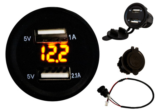 Dual USB Port Amber LED Voltmeter Fast Charger Socket Power Outlet 1.0A 2.1A Car ATV Truck Boat Motorcycle 12 volt