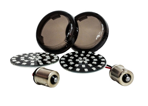Black Out Red LED 1156 Bulb Rear Turn Signal Light Insert Harley Bullet FL FX XL Smoke Lens touring dyna softail sportster street road electra glide